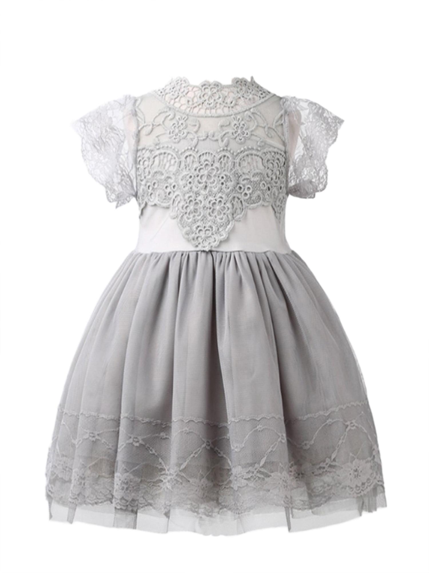 StylesILove Victorian Lace Princess Flower Girl Dress (1-2 Years, Grey)