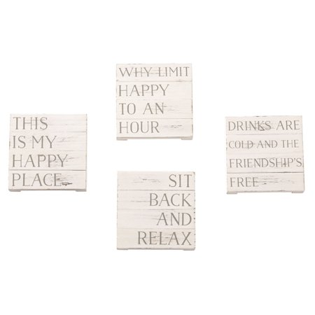 Mud Pie Dessert - Mud Pie 4 1/4 Inches Square Happy Place Planked Coaster Kitchenware