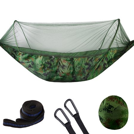 Portable Outdoor Camping Hammock with Mosquito Bugs Net Reversible Swing Extension Straps Clips Included ()