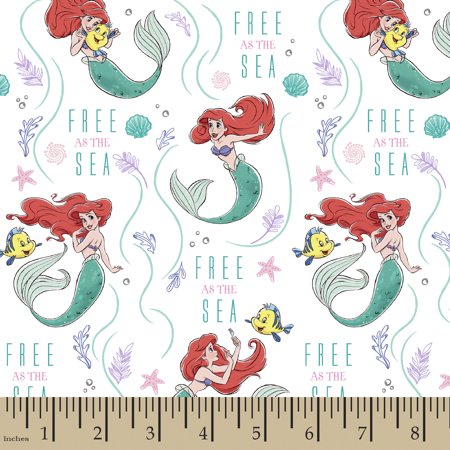 Disney Princess Ariel Free As The Sea Cotton Fabric By The Yard - Disney Ariel Fabric