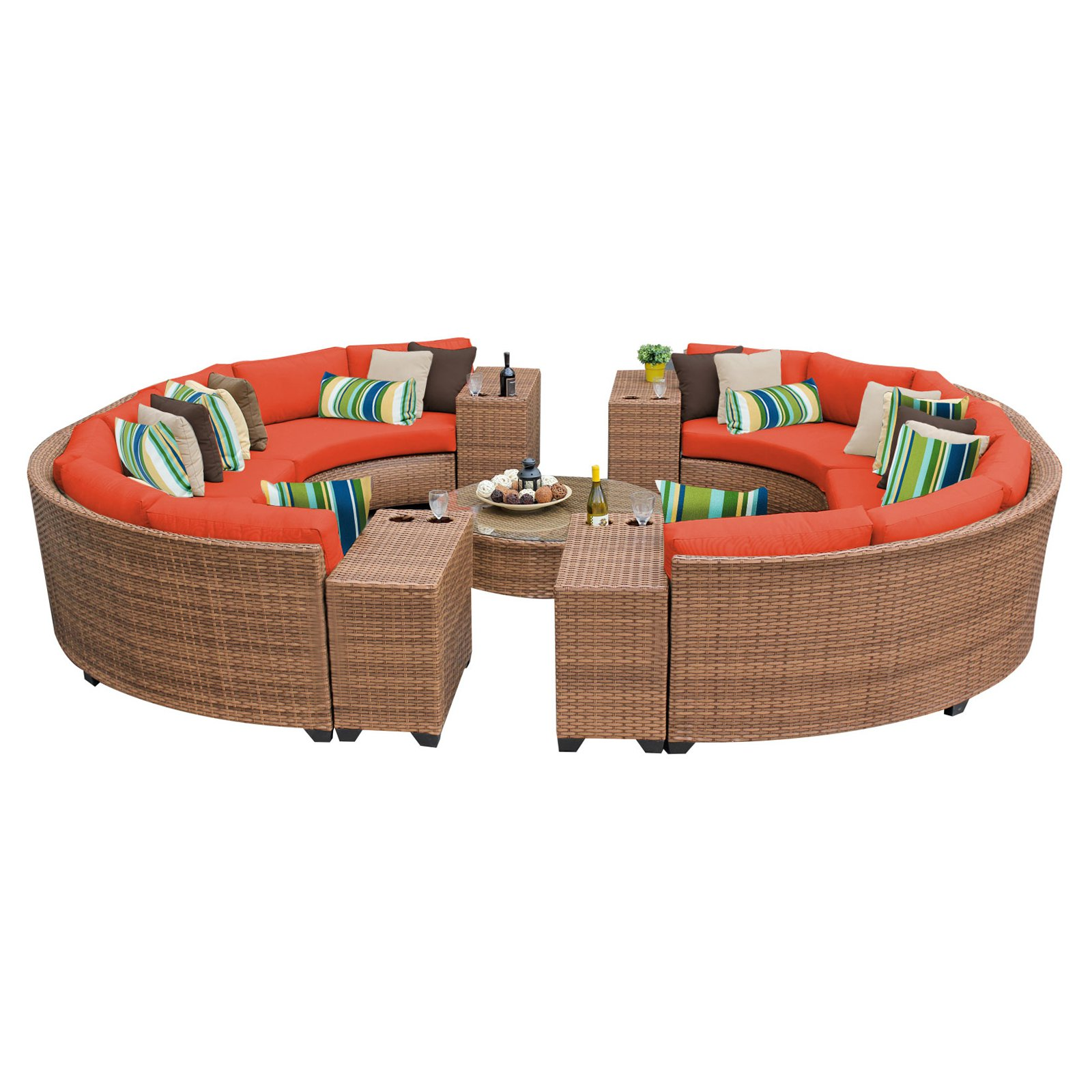 TK Classics Laguna Wicker 11 Piece Patio Conversation Set with Cup Table and 2 Sets of Cushion Covers