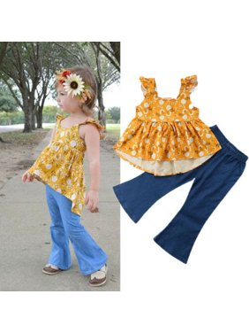 US Toddler Baby Girl Floral Tops T-shirt Wide Leg Flared Jeans Pants Outfit Set