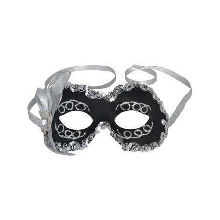 Black Masquerade Mask Silver Glitter Sequins Eye Mask Mardi Gras Costume Ideas