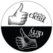 Dishwasher Magnet Clean Dirty Sign - Rustic Round Black & White Refrigerator Magnets (Thumbs Up/Thumbs Down - Artsy) -  Funny Housewarming Gifts by Flexible Magnets