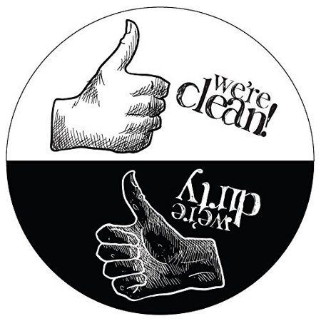 Dishwasher Magnet Clean Dirty Sign - Rustic Round Black & White Refrigerator Magnets (Thumbs Up/Thumbs Down - Artsy) -  Funny Housewarming Gifts by Flexible Magnets](Thumbs Up And Thumbs Down)