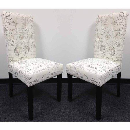 Set of 2 Dining Side Chair Upholstery French Script Micro Suede Print High Back ()