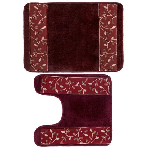 Burgundy Banded Leaf Bath and Contour Rug Set or Separates bath and contour rug set
