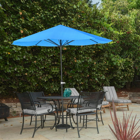 Pure Garden 9 Foot Aluminum Patio Market Umbrella Auto crank Brilliant Blue Pantone