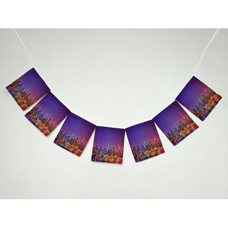 ZKGK New York City Skyline Banner Bunting Garland Flag Sign for Home Family Party Decoration