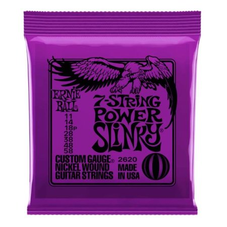 Ernie Ball 2620EB-U 0.011-0.058 Gauge Power Slinky 7-String Nickel Wound Electric Guitar Strings Ernie Ball Beefy Slinky String