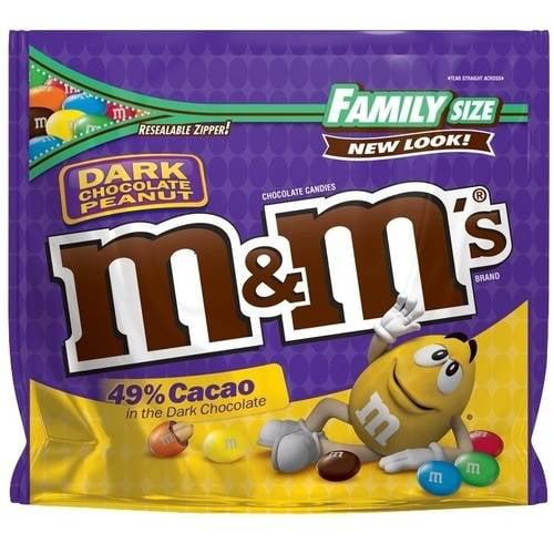 (3 Pack) M & M's 49% Cacao Dark Chocolate Peanut Candies, 19.2 oz