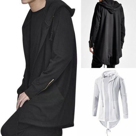 SUNSIOM Mens Cardigan Hooded Long Cloak Cape Coat Cosplay Loose Casual Slim Fit Jacket ()