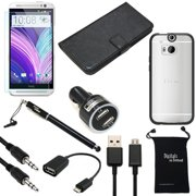 HTC One M8 Case, DigitalsOnDemand ® 9-Item Accessory Bundle for M8 - Black Leather Case, Rugged Case, Screen Protector, Stylus, USB Cable, Dual Car Charger, Micro 2.0 USB OTG, Auxiliary, Travel Bag