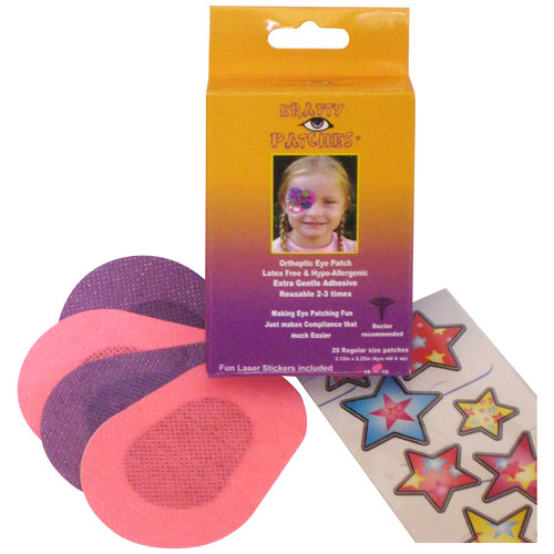 Krafty Eye Patches Orthoptic Eye Patches for Girls, Regular Size, 20 count