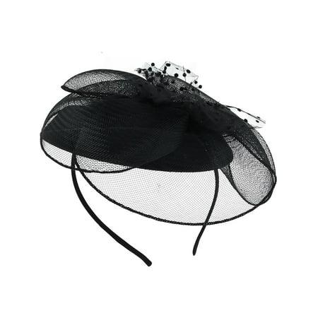 Net Vinyl Headband - Size one size Women's Net Flower Headband, Black