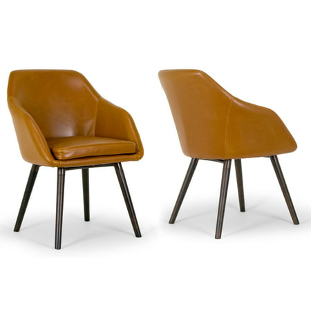 Set of 2 Adaya Cappuccino Faux Leather Arm Chair with Beech (Ars Leather Chair)