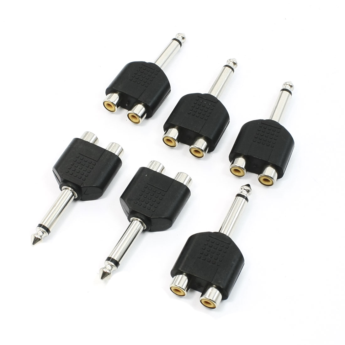 6 x Staight Shape 6.35mm Mono Audio Male Plug to 2 RCA Female Jack Adapters