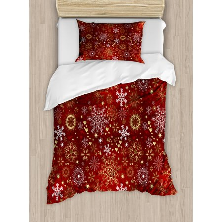 - Winter Duvet Cover Set, Old Fashioned Christmas Hearts and Swirls Vintage Festive Composition, Decorative Bedding Set with Pillow Shams, Vermilion Yellow White, by Ambesonne