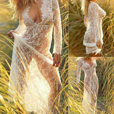 V Neck Sexy Women See Through Lace Long Maxi Dress Beach Dress Long Sleeve Long Boho Beach Dress Sundress Summer Holiday White Size S (Sexy Lace Maxi Dress)