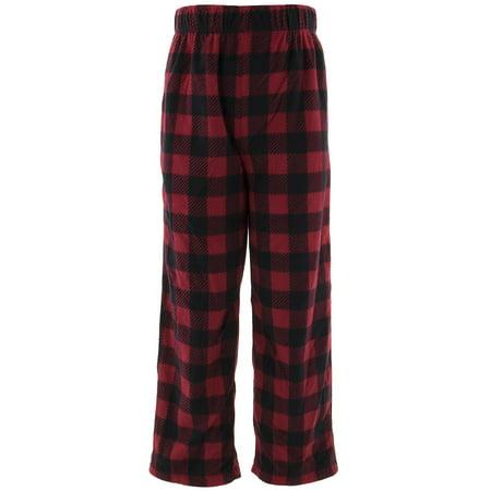 Sleep On It Boys Red Plaid Fleece Pajama Pants