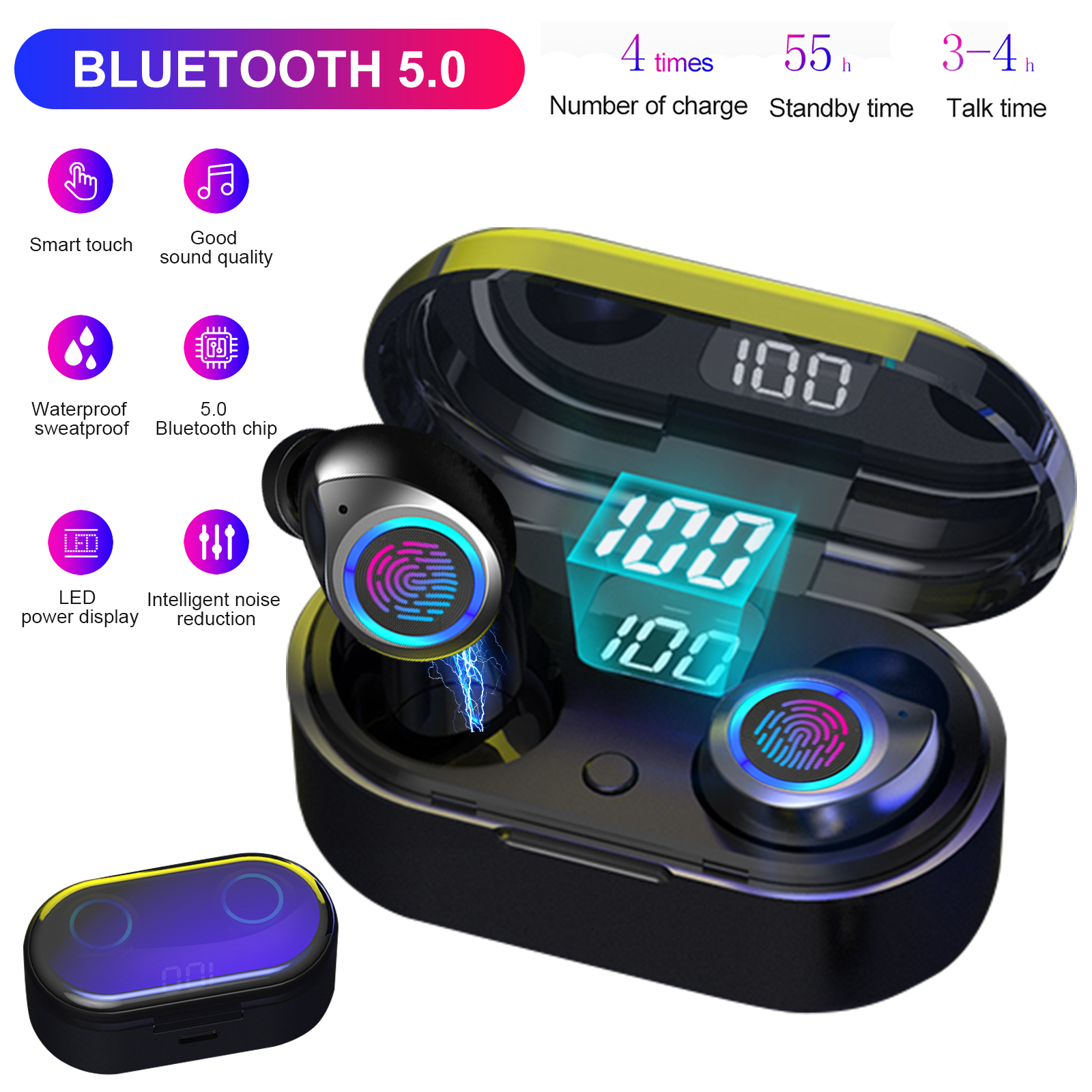 Bluetooth 5 0 Wireless Earbuds With Charging Case Touch Control Headset Tws Stereo Noise Canceling Waterproof Headphones In Ear Built In Mic Mini Sport Earphones For Workout Running Gym Walmart Com Walmart Com