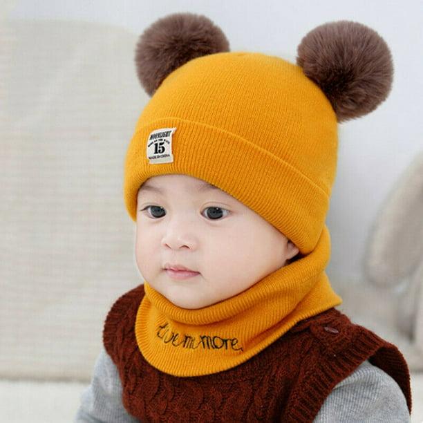 Kids Toddler Baby Boys Girl Warm Winter Pom Bobble Hat Knit Beanie Scarf Cap Set