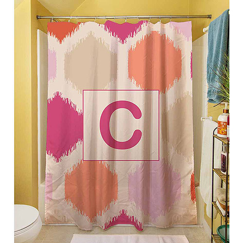MWW, Inc. Thumbprintz Batik Monogram Pink Shower Curtain