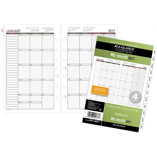 "Day Runner Express Recycled Monthly Planning Pages, 5-1/2"" x 8-1/2"""