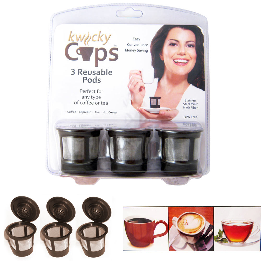 3 Reusable Single Cup Keurig Solo Filter Pod K-Cup Coffee Stainless Mesh Generic