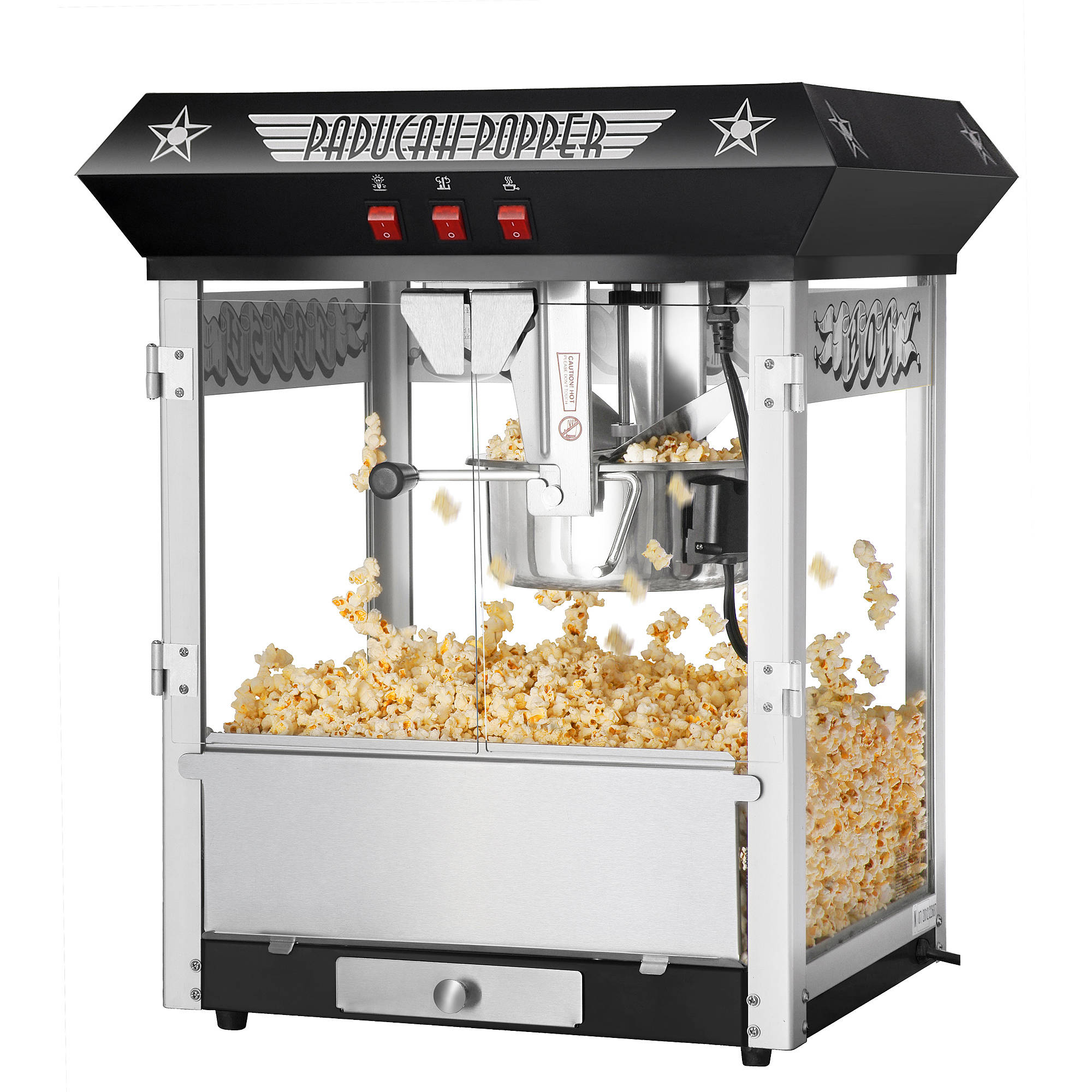 Great Northern Paducah Black Antique Style Popcorn Popper Machine, 8 Ounce