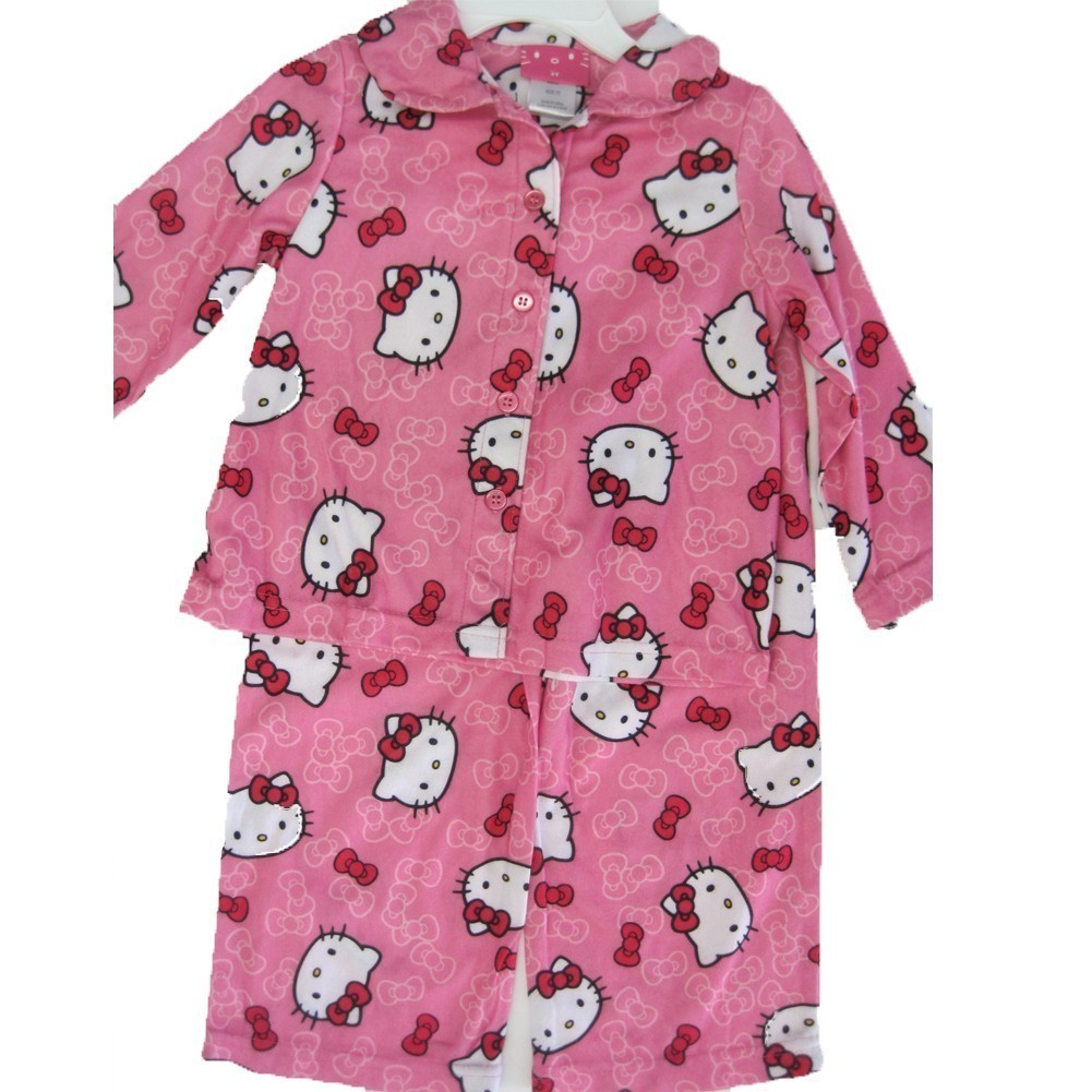 Hello Kitty Little Girls Pink Kitty Bow Print 2 Pc Pajama 2T-4T
