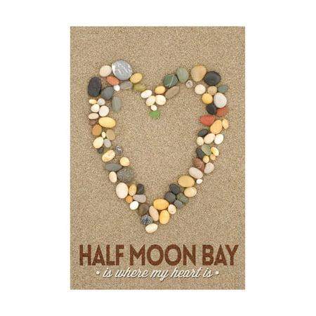 Half Moon Bay, California Is Where My Heart Is - Stone Heart on Sand Print Wall Art By Lantern Press