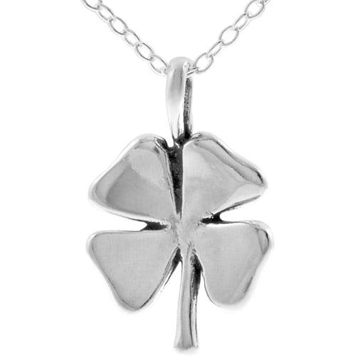 """Brinley Co. Sterling Silver 4-Leaf Clover Pendant, 18"""""""