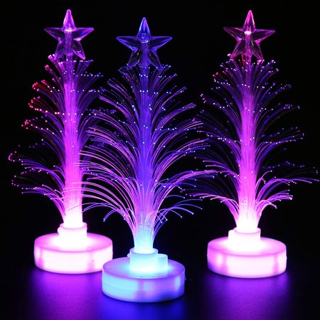 Christmas Tree LED Night Light, 3 Pack Fiber Optic Decorative Xmas Tree Light Color Changing Table Lamp for Home Party Christmas