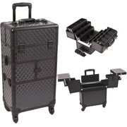 Black Diamond Pattern 3-Tiers Accordion Trays 4-Wheels Professional Rolling Aluminum Cosmetic Makeup Case and 6-Tiers Extendable Trays with Dividers - I3464