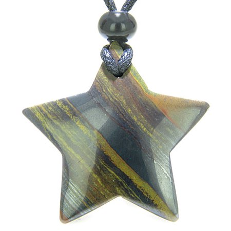 Amulet Magic Five Pointed Super Star Tiger Iron Gemstone Healing Pendant Necklace