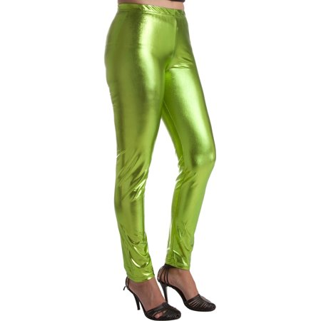Sakkas Footless Liquid Wet Look Shiny Metallic Stretch Leggings - AppleGreen - - Silver Metallic Tights