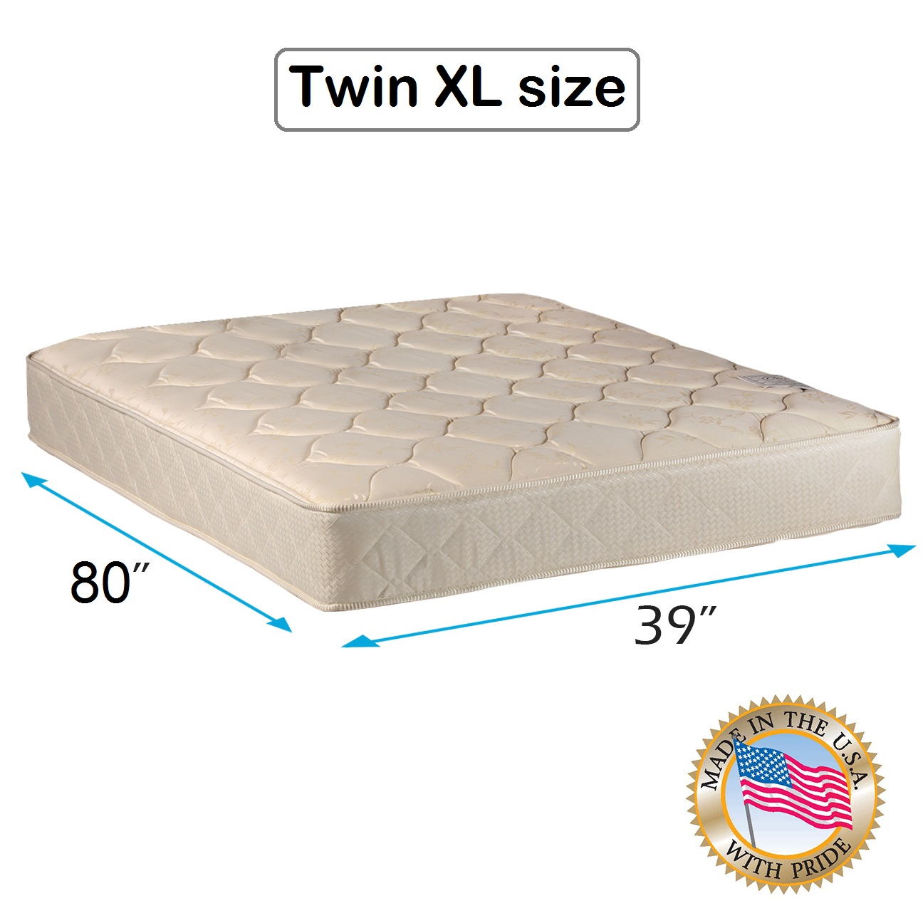 "Comfort Classic Gentle Firm (Twin Extra Long - 39""x80""x9"") Mattress Only - Fully Assembled, Orthopedic, Good for your back, Superior Quality - Long Lasting and 1 Sided - By Dream Solutions USA"