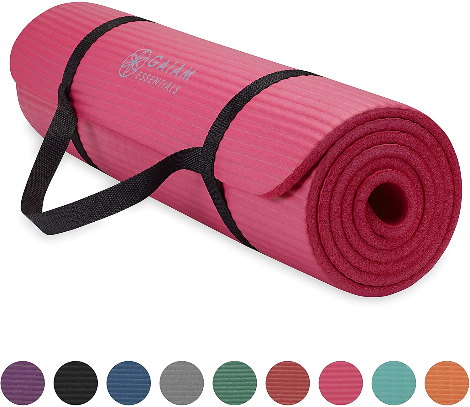 72L x 24W x  1//4 Inch Thick Gaiam Essentials Premium Yoga Mat with Yoga Mat Carrier Sling