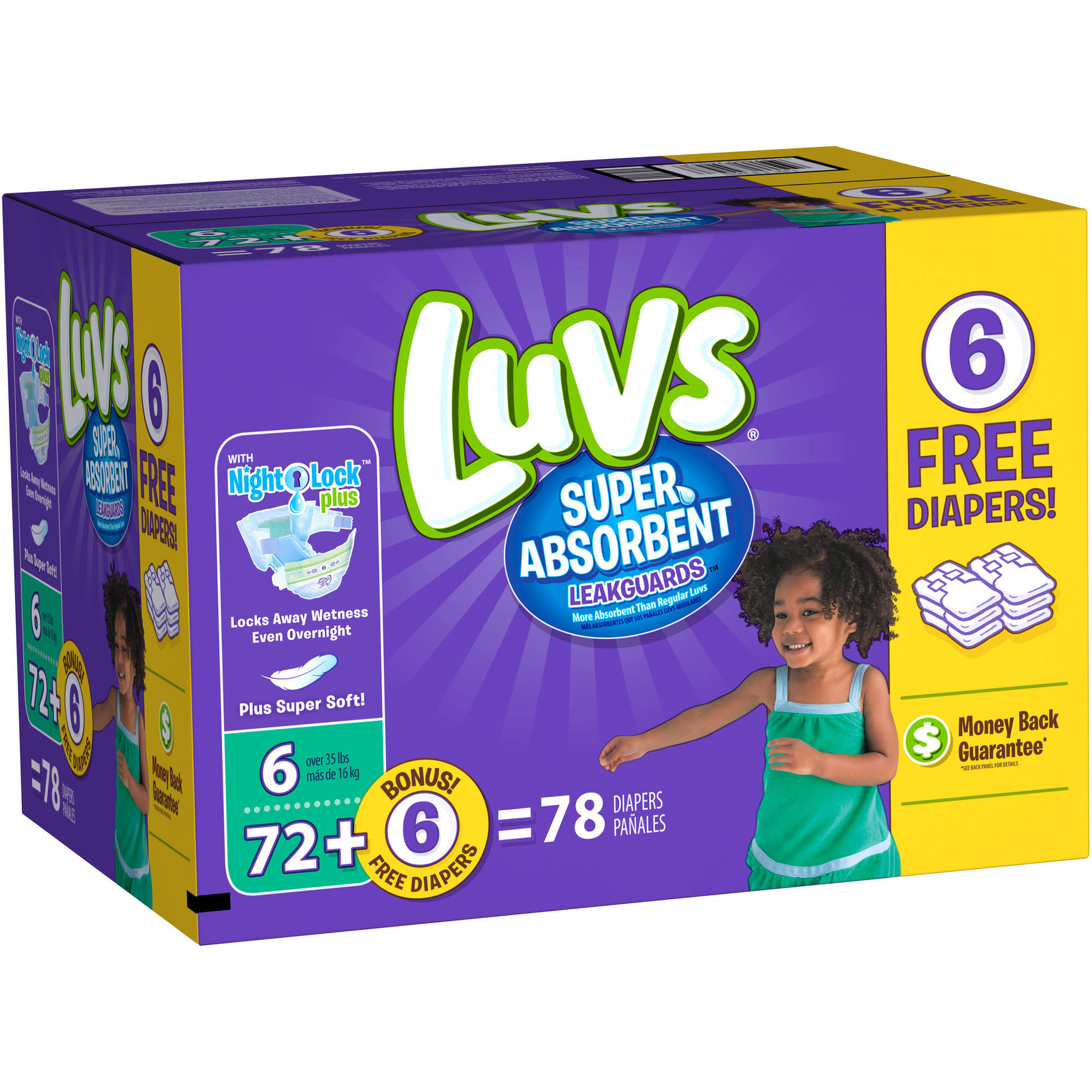 Luvs Super Absorbent Leakguards Diapers, Size 6, 78 count ...