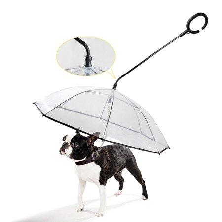 Pet Dog Umbrella with Leash C Shaped Retractable Steering Handle Transparent Umbrella for Walk Dog Protect Pets in Rainy Day - image 7 de 7