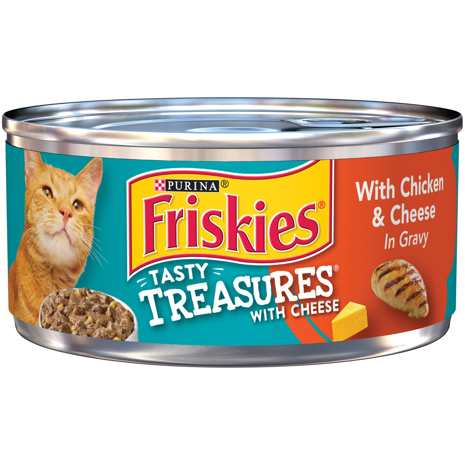 Friskies Tasty Treasures with Chicken & Cheese in Gravy Cat Food Case of 24- 5.5 oz. Cans