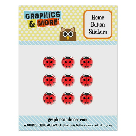 Lady Bug Ladybug Insect Home Button Stickers Set Fit Apple iPhone iPad iPod Touch - Home Button Stickers