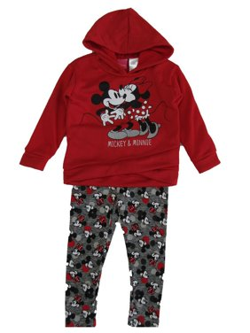 Disney Little Girls Red Minnie Mouse Long Sleeve Sweater Outfit Set