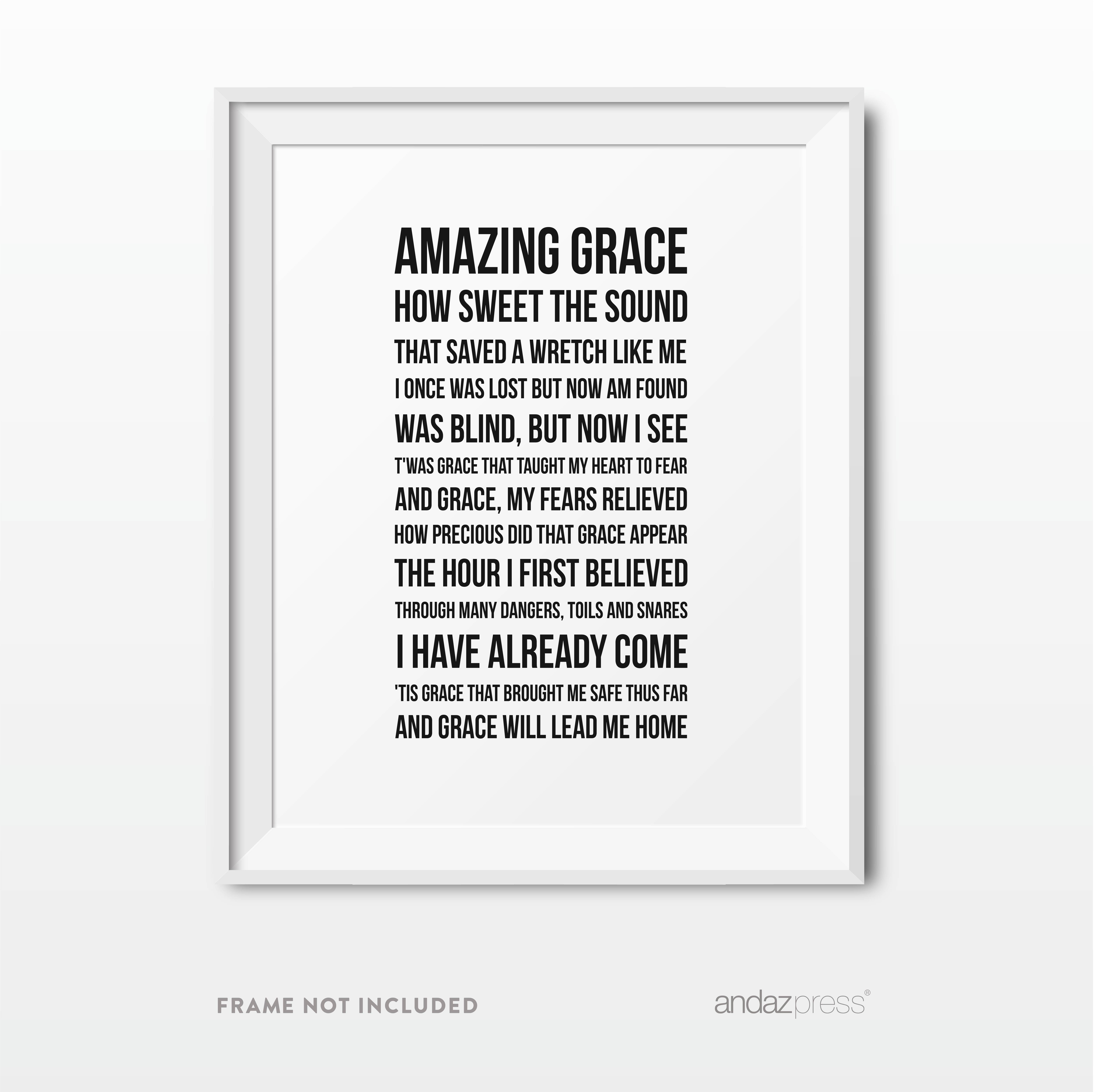 Amazing Grace Hymn, Long Version Bible Verses Religious Wall Art, Modern Black and White