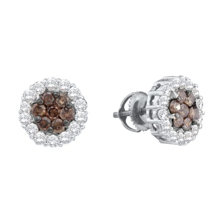 14k White Gold Round Chocolate Brown Diamond Flower Cluster Screwback Earrings (3/4 Cttw)