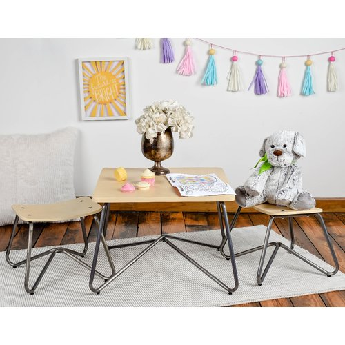 X Rocker Kellan Kids 3 Piece Square Table and Stool Set
