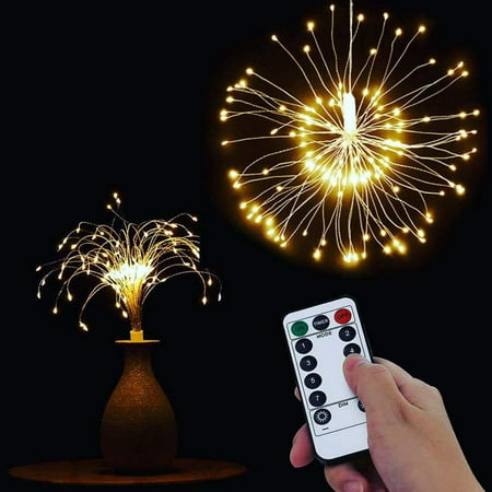 Battery Operated String Lights 120 LED DIY Bouquet Shape Starburst Hanging Fairy Lights Remote Control Decoration for Garden, Patio, Room, Wedding, Party, Banquet, Festive (Warm White), I0442
