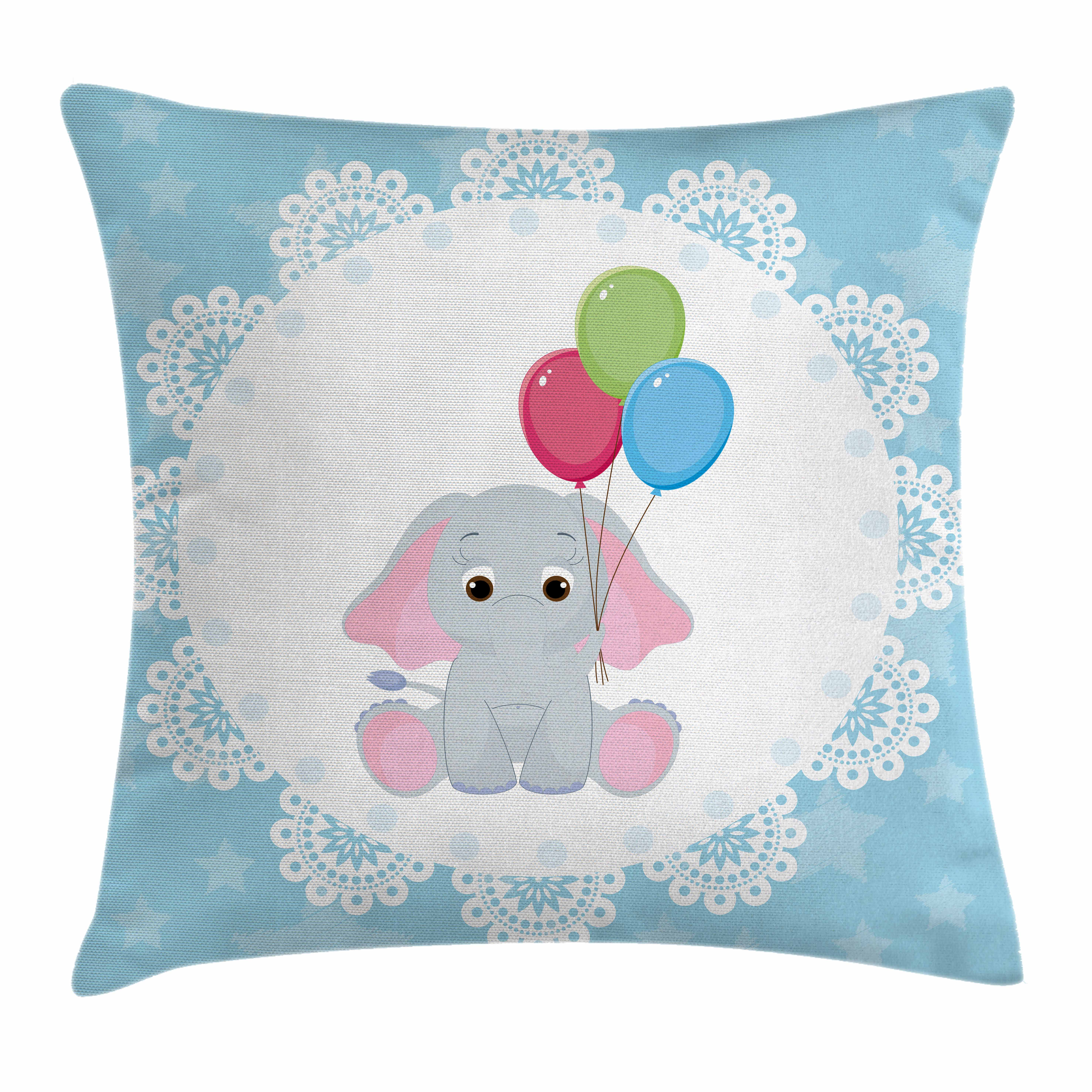 Elephant Nursery Decor Throw Pillow Cushion Cover, Stars Ornate Motifs Cartoon Kid Animal in Circle Holding Balloons, Decorative Square Accent Pillow Case, 16 X 16 Inches, Multicolor, by Ambesonne