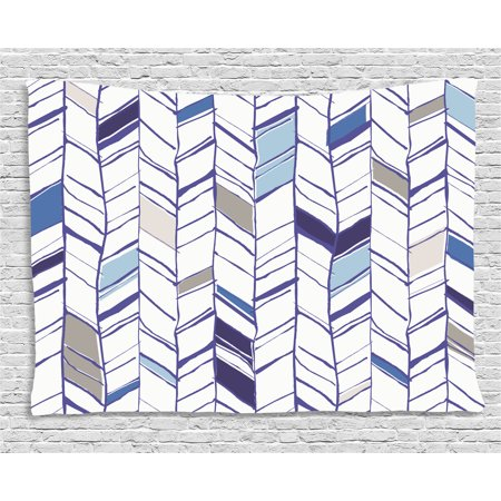 Navy Tapestry, Tribal Zigzag Lines Pattern in Various Shades Geometric Boho Sketch Print, Wall Hanging for Bedroom Living Room Dorm Decor, 60W X 40L Inches, Sky Blue Grey Tan Pearl, by Ambesonne